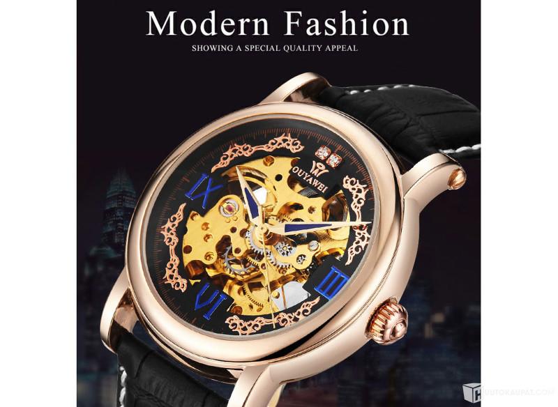 Huutokaupat.com - Tosi komea OUYAWEI Royal Diamond Design Skeleton Mechanical Watch Gold rannekello (481311), Riihimäki